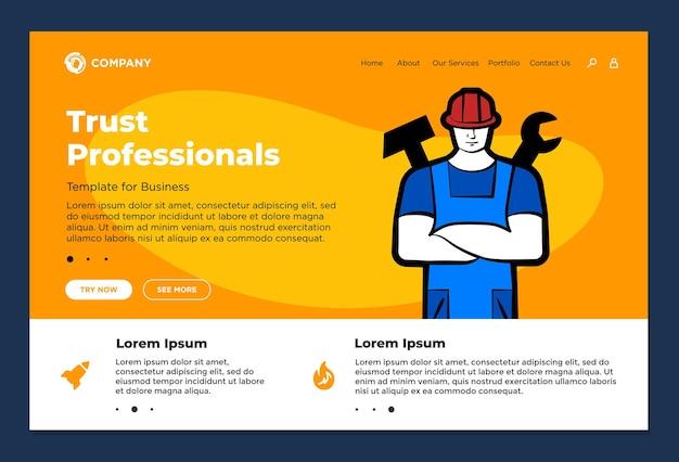 Los profesionales de confianza apoyan el servicio de reparación de reparación del constructor diseño de página de destino del sitio web hombre marido para