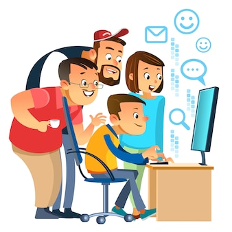 Profesionales de negocios. grupo de hombres de negocios que analizan datos usando la computadora en la oficina. gente ayudando a uno de sus colegas. trabajo en equipo. ilustración de dibujos animados aislado sobre fondo blanco.