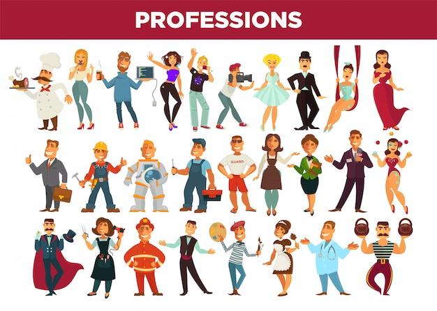 Profesionales y profesionales de la ocupación vector conjunto aislado