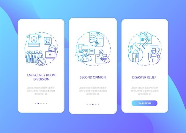 Profesionales de la telemedicina incorporando la pantalla de la página de la aplicación móvil con conceptos