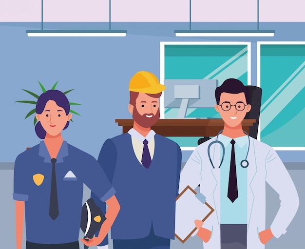 Profesionales trabajadores caracteres sonrientes caricaturas
