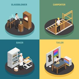 Profesiones artesanales 2x2 concepto de diseño