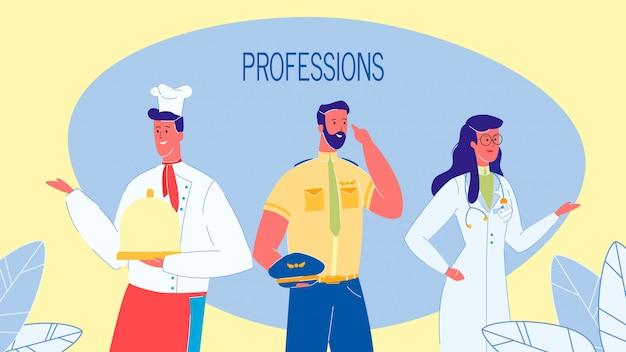 Profesiones, empleos vector web banner con texto