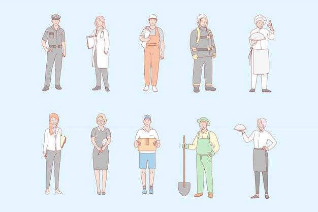 Profesiones de hombres y mujeres, puestos de trabajo establecen el concepto