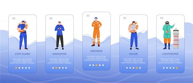 Profesiones marítimas onboarding plantilla de pantalla de aplicación móvil. guardacostas, ingeniero y navegante. paso a paso del sitio web con caracteres planos. concepto de interfaz de dibujos animados de teléfonos inteligentes ux, ui, gui