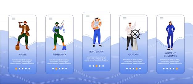 Profesiones marítimas onboarding plantilla de pantalla de aplicación móvil.