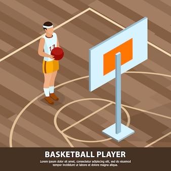 Profesiones de personas jugador de baloncesto en uniforme deportivo en el campo de juego isométrico