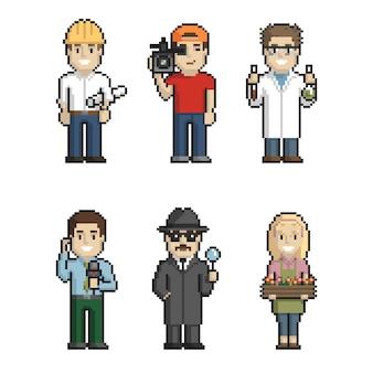Profesiones pixel art sobre fondo blanco 1. ilustración vectorial