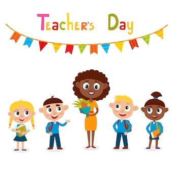 Profesor afroamericano con flores y alumnos, tarjeta del día del maestro feliz.