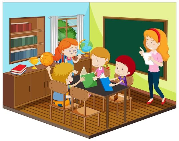 Profesor y alumno en el aula con muebles.