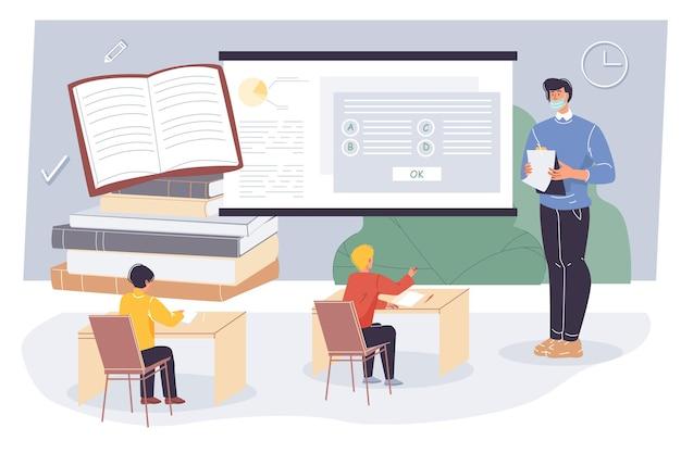 Profesor y alumnos planos de dibujos animados, personajes de estudiantes hacen el examen de prueba en clase