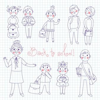 El profesor con los alumnos. de vuelta a la escuela.