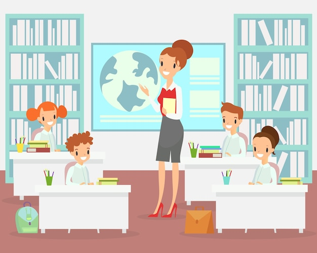 Profesor en el aula con niños. maestro niños felices y sonrientes sentados en los escritorios en clase, dibujos animados