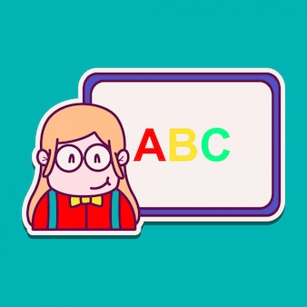 Profesor, caricatura, garabato, kawaii, pegatina, ilustración