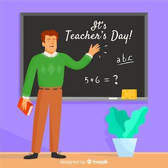 Profesor celebrando el día del maestro en la escuela