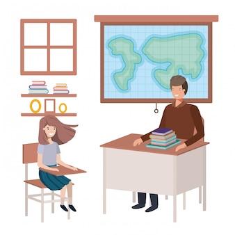 Profesor en la clase de geografía con alumnos.