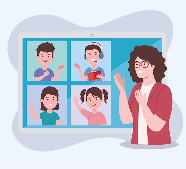 Profesor en clase virtual