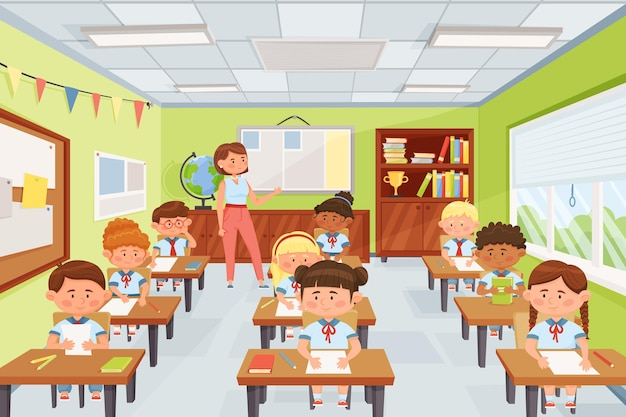 Profesor de dibujos animados con niños de la escuela alumnos sentados en escritorios en la ilustración de vector de aula