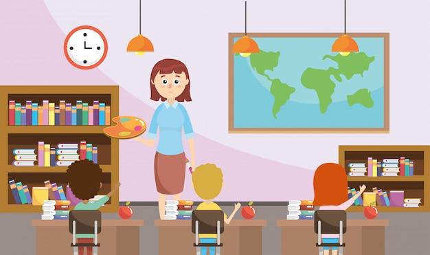 Profesor de educación con alumnos y librero en el aula.