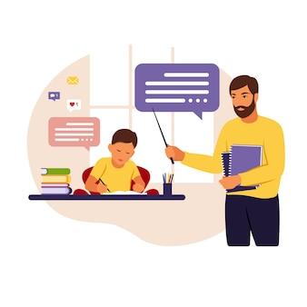 El profesor enseña al niño en casa o en la escuela. ilustración conceptual para la escuela, la educación y la educación en el hogar. ilustración de estilo plano.
