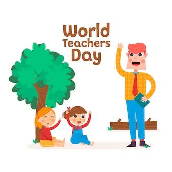 Profesor enseñando a niñas felices, día mundial del docente