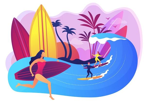 Profesor enseñando surf, montando una ola en la tabla de surf en el océano, gente diminuta. escuela de surf, área de surf spot, aprende a surfear aquí concepto.