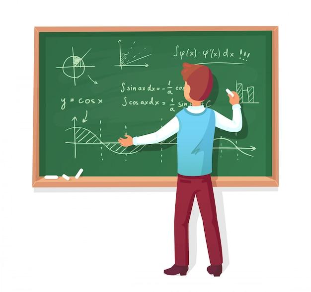 Profesor escribe en la pizarra