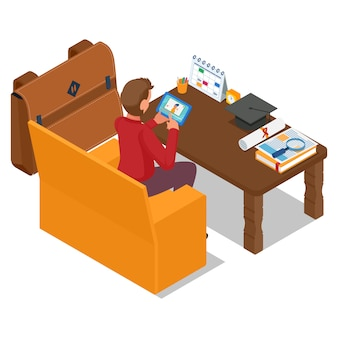 Profesor de escucha del estudiante en la tableta del teléfono. ilustración de e-learning. vector