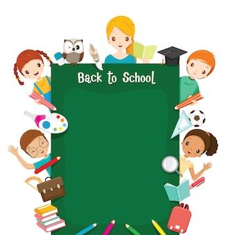 Profesor, estudiante e iconos pizarra redonda, regreso a la escuela