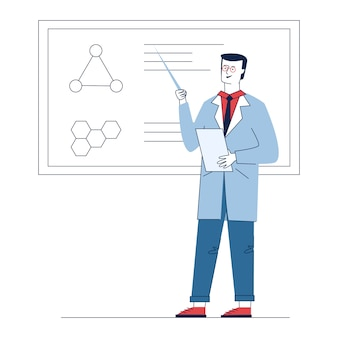 Profesor explicando el resultado de la investigación médica