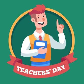 Profesor feliz sosteniendo un libro