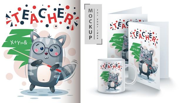 Profesor de gato y merchandising.