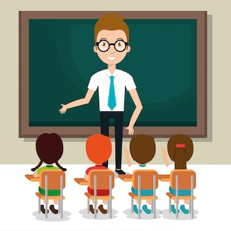 Profesor hombre con alumnos en el aula