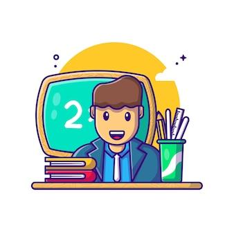 Profesor con ilustración de dibujos animados de equipo. concepto del día del trabajo blanco aislado. estilo de dibujos animados plana