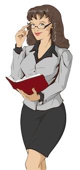 Profesor joven hermoso de la mujer que sostiene el libro abierto