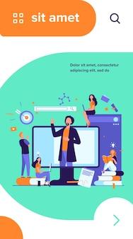 Profesor leyendo la conferencia en línea aislado ilustración vectorial plana. estudiantes aprendiendo lecciones a través de una computadora portátil y un seminario web de escucha