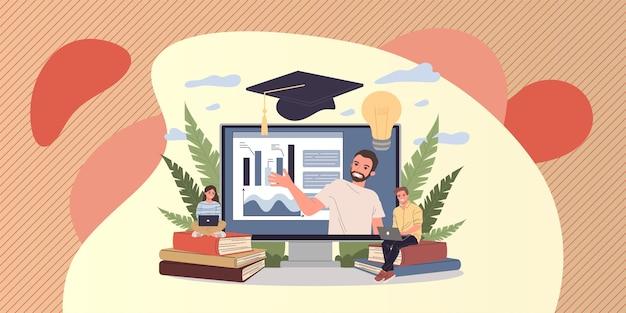 Profesor en línea explicando gráficos en el monitor