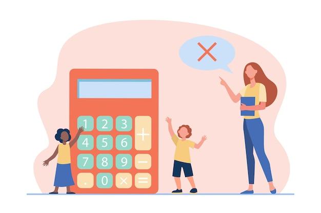Profesor de matemáticas que prohíbe el uso de calculadora. enseñanza, señal de prohibición en bocadillo, niños. ilustración de dibujos animados