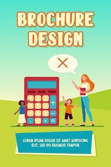 Profesor de matemáticas que prohíbe el uso de calculadora. enseñanza, señal de prohibición en bocadillo, niños. ilustración vectorial plana