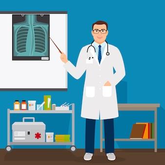 Profesor de medicina revisando pulmones radiografía