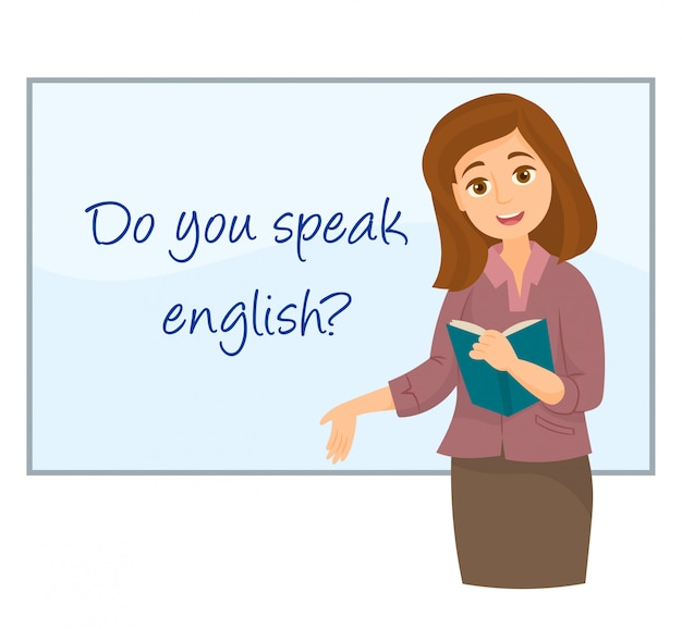 Profesor mostrando inglés en pizarra