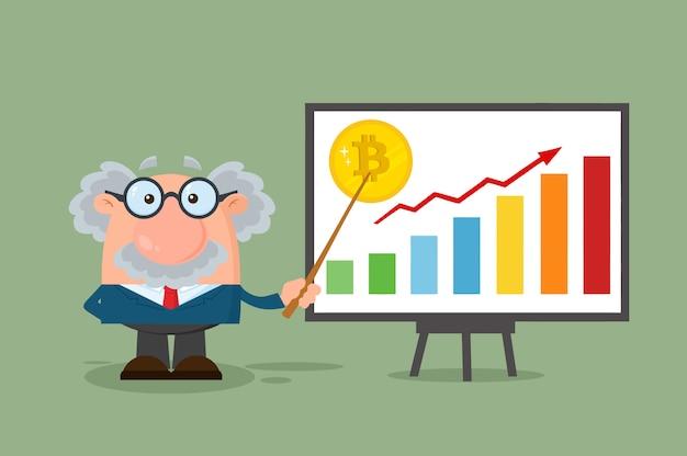 Profesor o científico personaje de dibujos animados con el puntero que discute sobre el crecimiento de bitcoin
