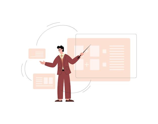 Profesor o entrenador de negocios en el aula virtual ilustración vectorial plana aislada