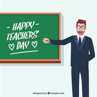 Profesor con una pizarra, día del profesorado