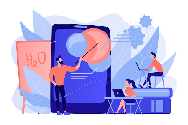 Profesor que enseña ciencia a estudiantes con ayuda de tableta y realidad aumentada. realidad virtual, educación visual, concepto de métodos de enseñanza atractivos. vector ilustración aislada.
