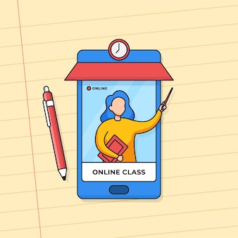 Profesor que presenta en la pantalla del teléfono inteligente para aprender en clase en línea desde casa con una aplicación móvil