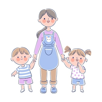 Profesor sosteniendo a pequeños estudiantes por sus manos