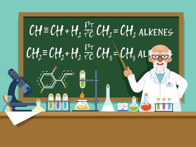 Profesor en su laboratorio para experimentos.