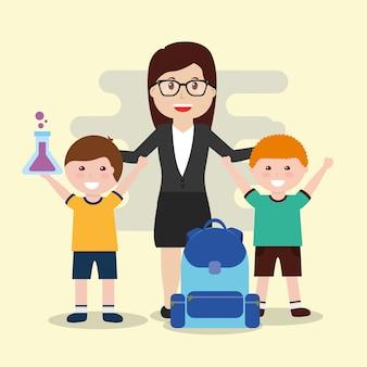 Profesor y alumnos felices con tubo de ensayo y mochila