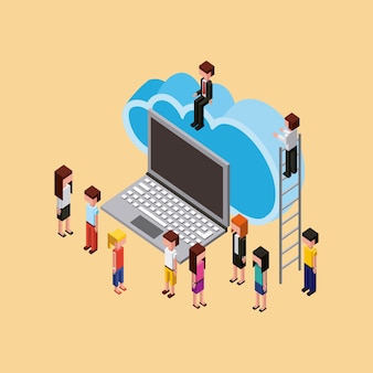 Profesor y estudiantes computación en nube portátil de almacenamiento